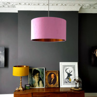 INDIAN SILK LAMPSHADE IN BLUSH WITH BRUSHED COPPER LINING