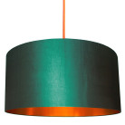 Peacock and copper lampshade