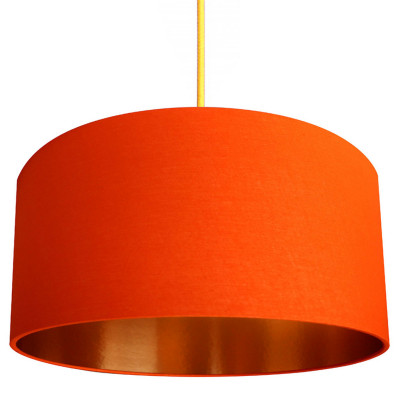 Tangerine Orange Cotton Lampshade with Brushed Copper Lining