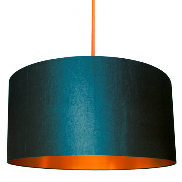 petrol blue Lampshade with copper Lining