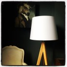 French Drum White and Gold Lampshade