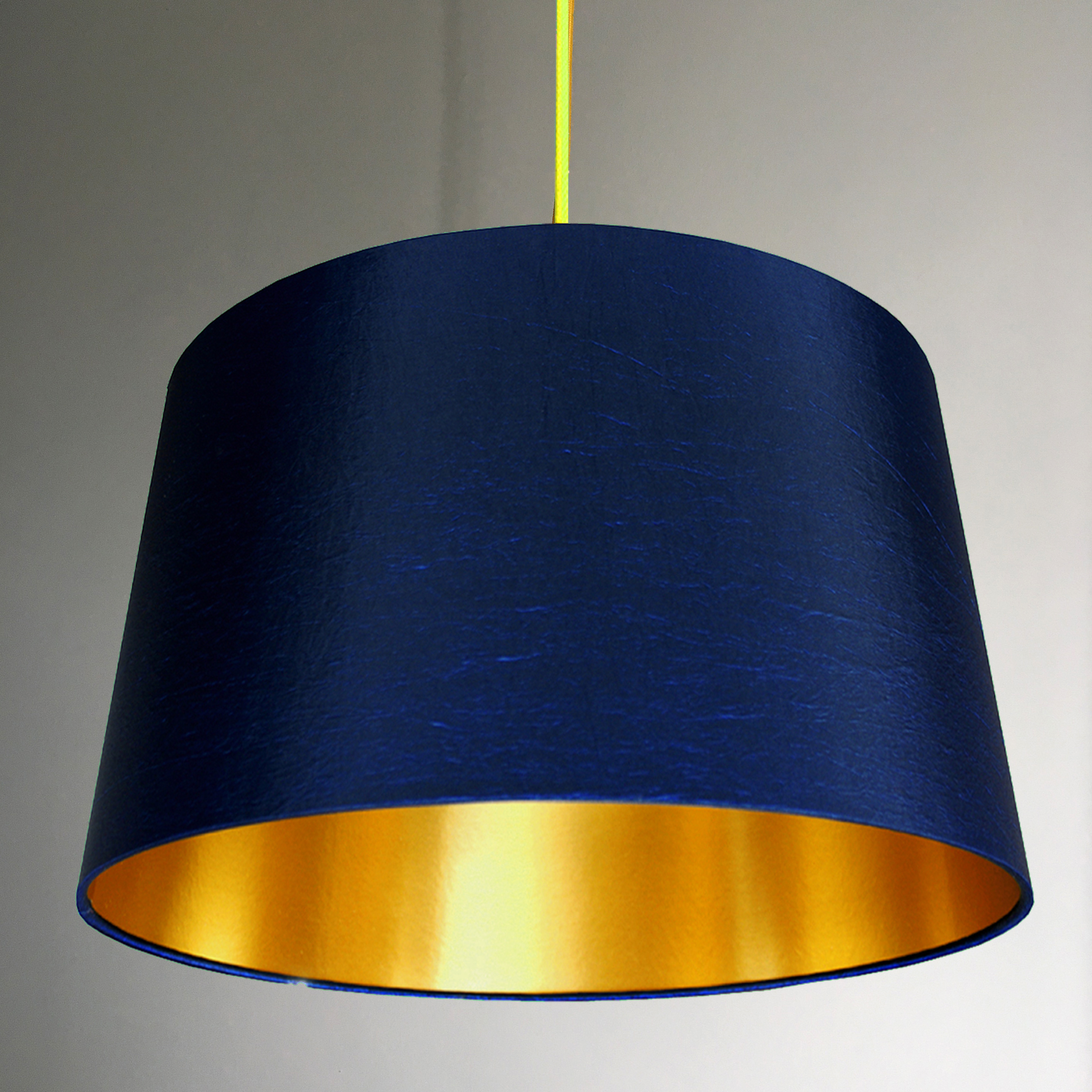 French Drum Lampshade In Midnight Blue With Gold Lining