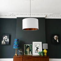 White lampshade with brushed copper lining