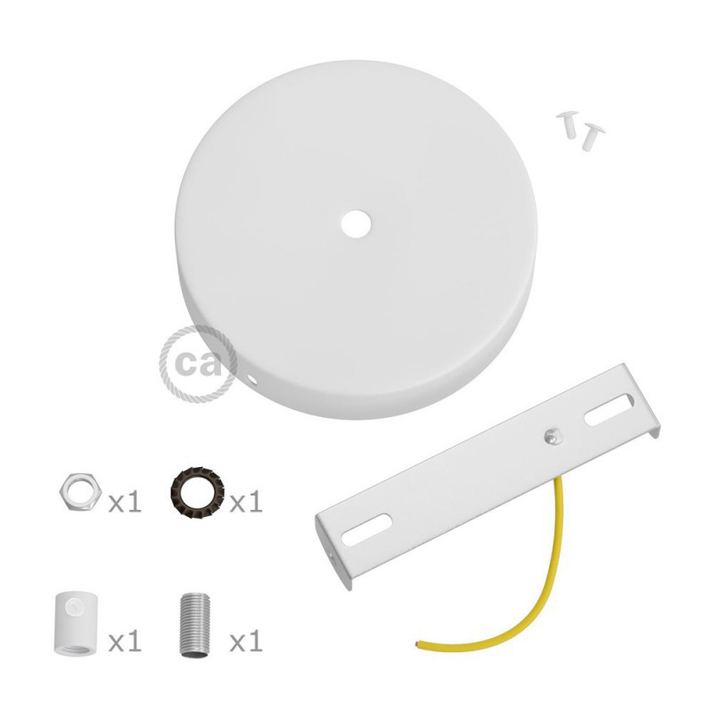 Matt white ceiling rose kit with cylindrical 15 cm white metal cable retainer