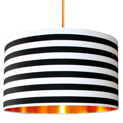 Handmade gold lined silhouette and vintage lampshades for ceiling black white circus striped lampshade aloadofball Choice Image