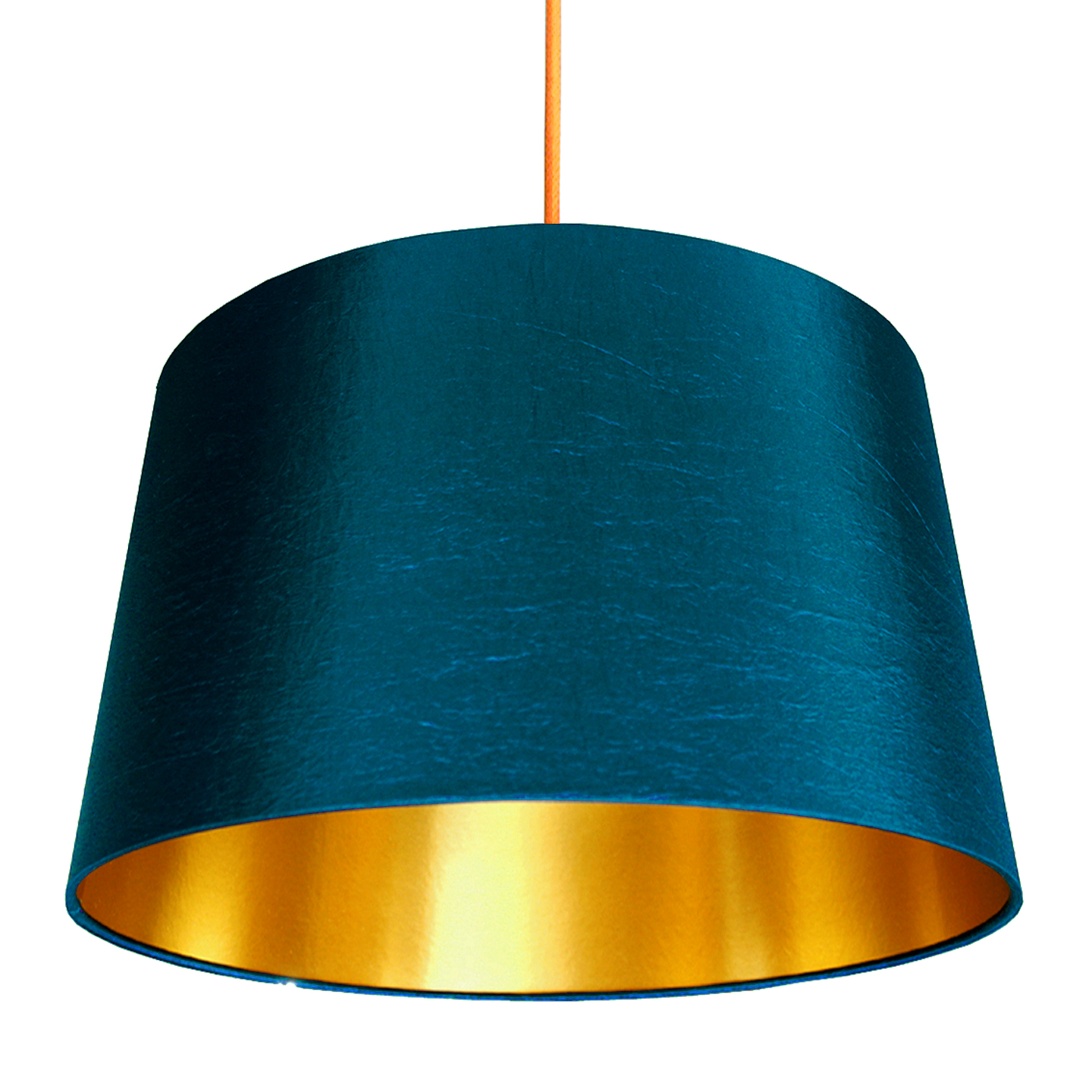 French Drum Lampshade In Petrol With Gold Lining Love