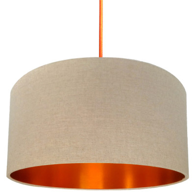Oatmeal Linen Lampshade with Brushed Copper Lining