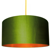 Oliver Green Lampshade with Brushed Copper Lining