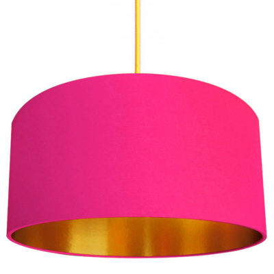 Watermelon Pink Cotton Lampshade with Gold Lining designed by Love Frankie, Creative Lighting & Interiors Store