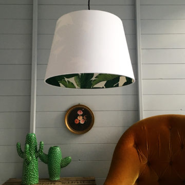 Banana leaf French Drum silhouette lampshade