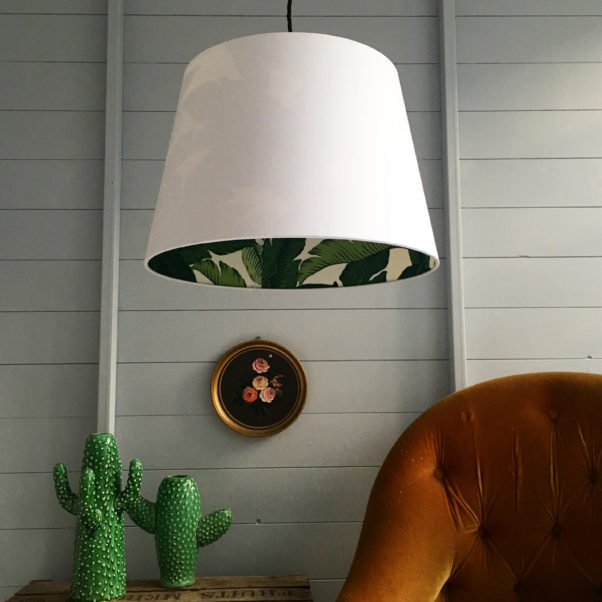 Banana leaf silhouette lampshade