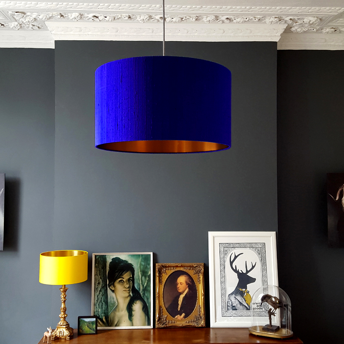 Indian Silk Lampshade In Electric Blue With Brushed Copper