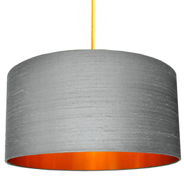 Indian Silk Lampshade In Ash With Brushed Copper Lining