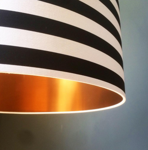 Close up of our circus stripes and gold lining lampshade