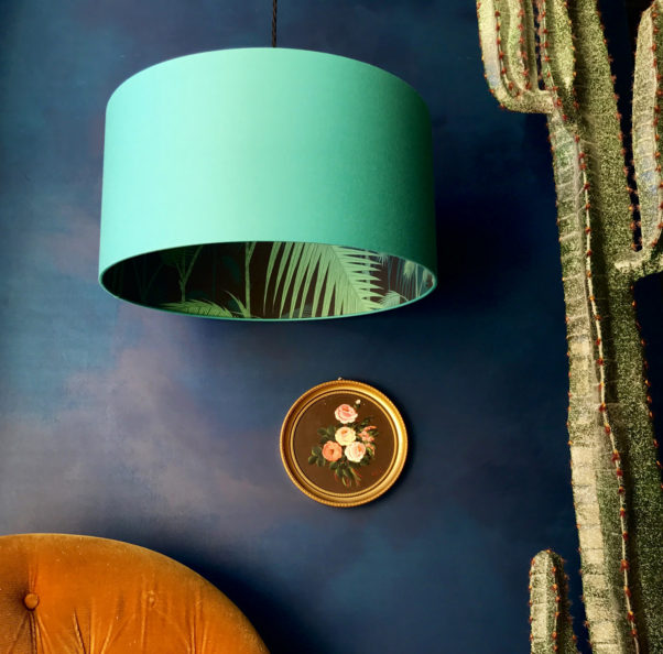 Cole & Sons Palm Jungle wallpaper lampshade in Jade