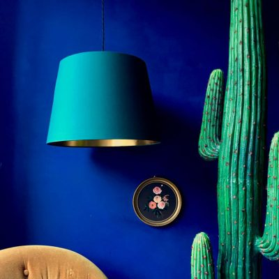 Hunter Green and Gold French Drum lampshade