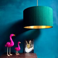 Forest Silk and gold lined lampshade