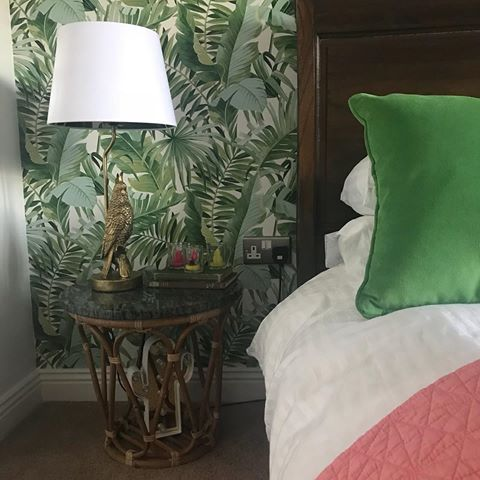 Our Small Banana Leaf Silhouette Lampshade Looking mighty fine over @benjaminstownhouse on insta