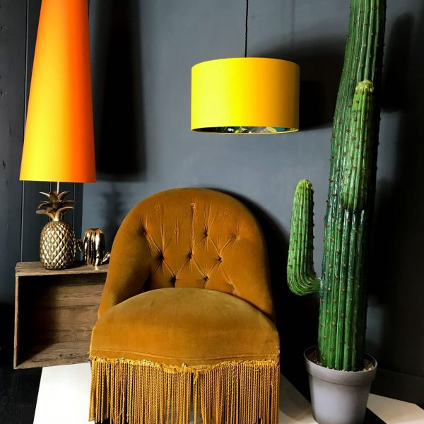 Our kooky Lemur animal print lampshade surrounded in in egg yolk cotton Handmade Lampshades made to order by Love Frankie.