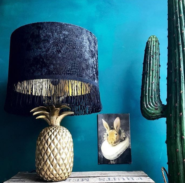 Mock crocodile print velvet lampshade with gold lining and black fringing