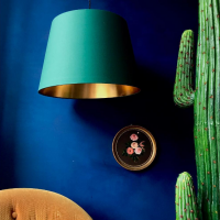 Artifical cactus with green and gold shade