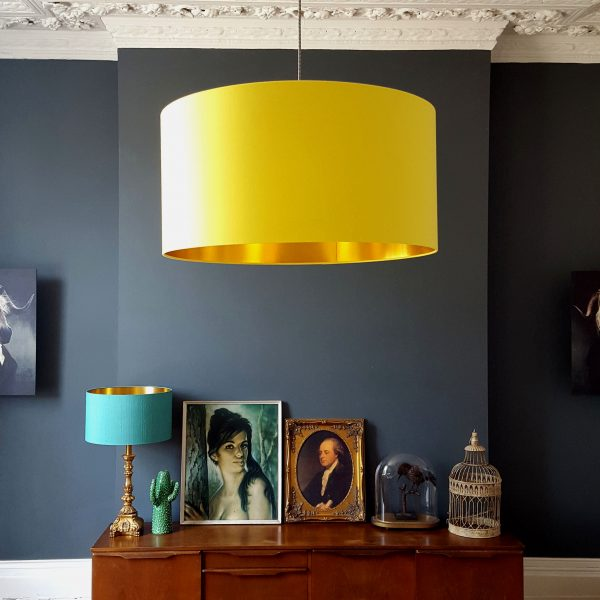 Sunshine Yellow and gold lampshade