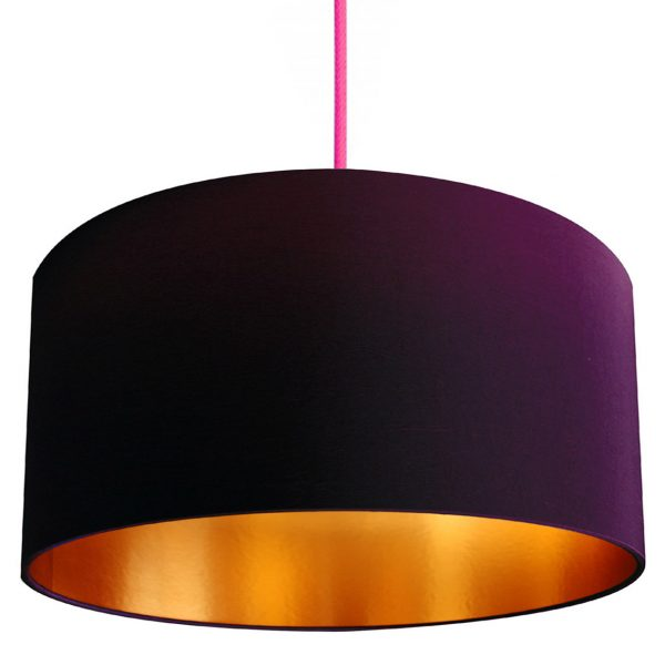 damson purple and gold handmade lampshade