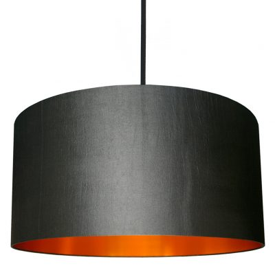 Gunmetal grey and copper lampshade