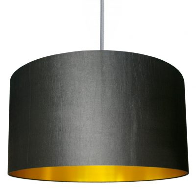 Gunmetal grey and gold lampshade