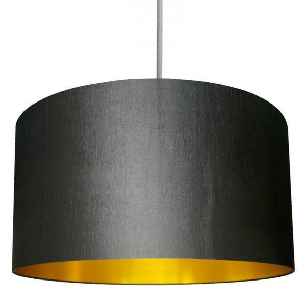 Gunmetal grey and gold lampshade