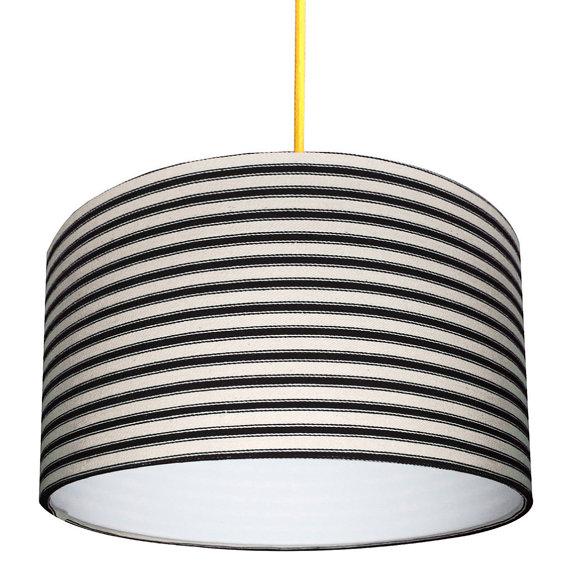 Ticking Stripe lampshade in black
