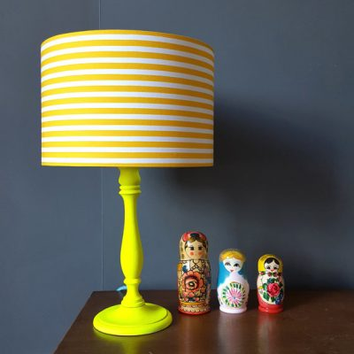 Simple Stripe Lampshade Yellow and white