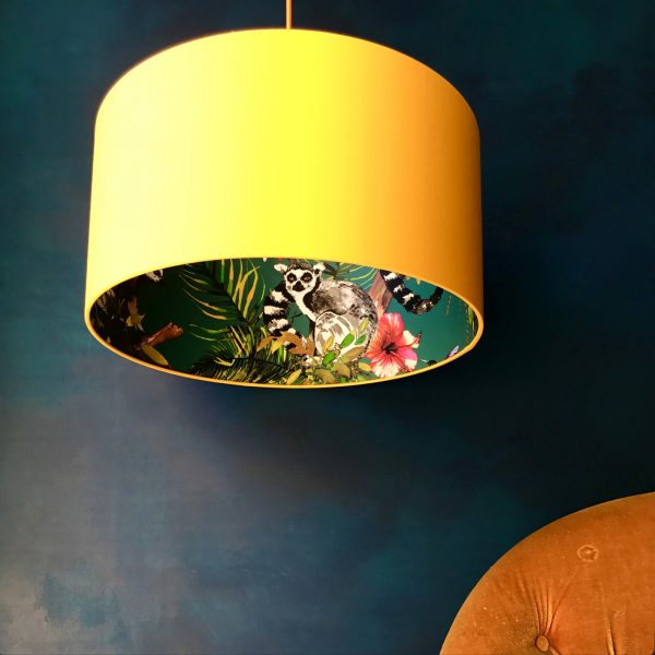 Love Frankie Kooky Lemur Lampshade, teal lemur wallpaper and egg yolk yellow cotton