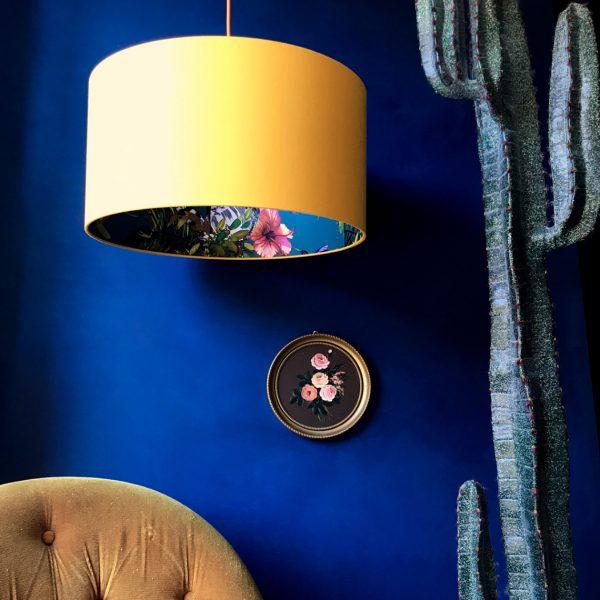 Kooky Lemur Lampshade, teal lemur wallpaper and egg yolk yellow cotton