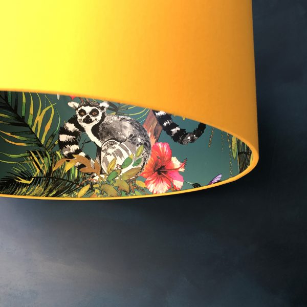 Kooky Lemur Lampshade, teal and egg yolk yellow