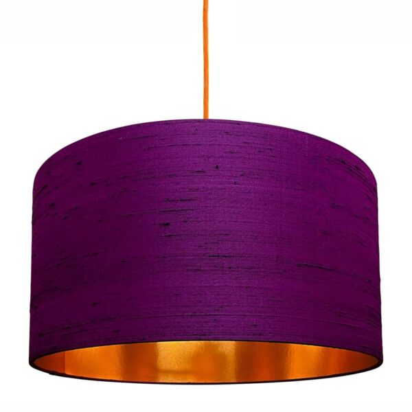 Damson Purple Silk Lampshade With Brushed Copper Lining
