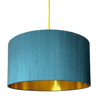 Duck Egg Blue Silk Lampshade With Gold Lining