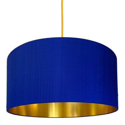 Electric Blue Silk Lampshade With Gold Lining