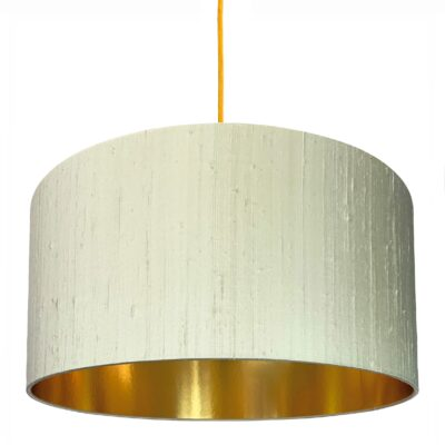 Pebble Silk Lampshade With Gold Lining