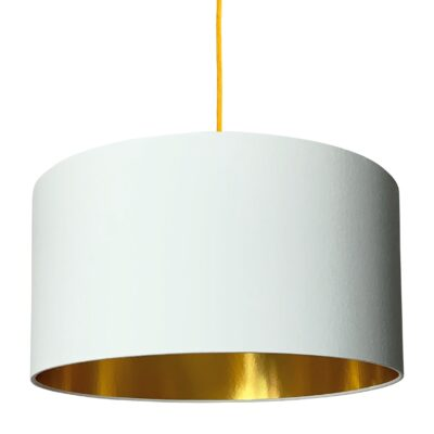 White Cotton Lampshade With Gold Lining