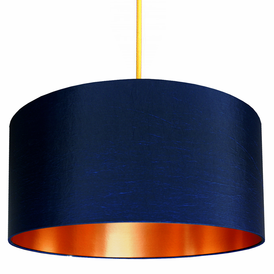 Midnight Blue Lampshade With Brushed Copper Lining Love