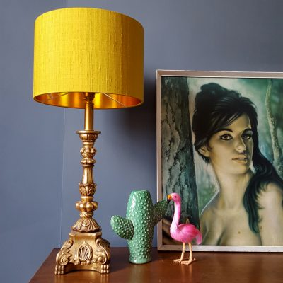 Mustard Yellow Silk Lampshade With Gold Lining