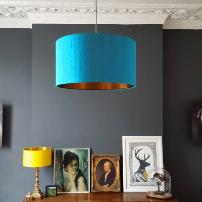 Brushed copper lined lampshades for ceiling pendants and lamps aqua and copper lampshade lampshade proportion guide aloadofball Image collections