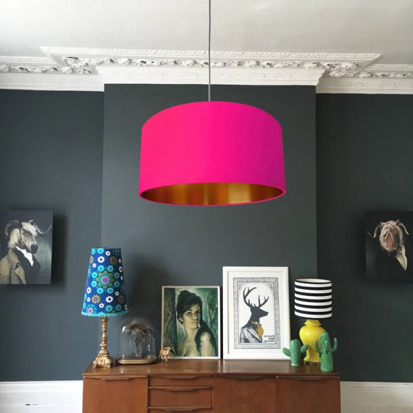 Watermelon Pink and Gold Lampshade