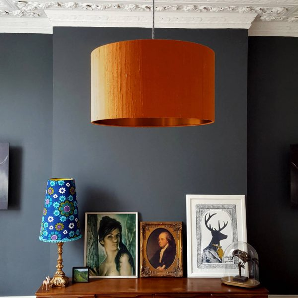 Tangerine silk and copper lampshade
