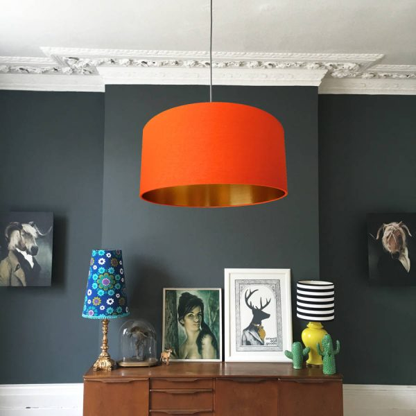 Orange and Copper Lampshade