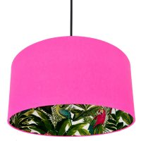 TROPICAL PRINT AND NEON PINK SILHOUETTE LAMPSHADE