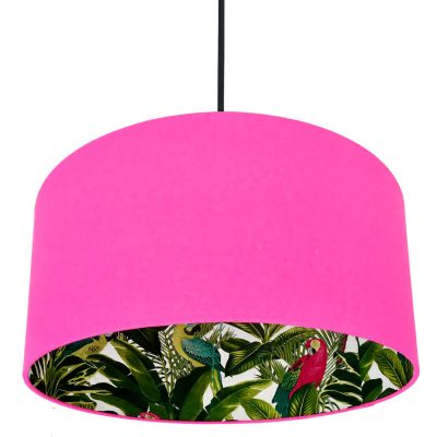 Tropical print and pink lampshade