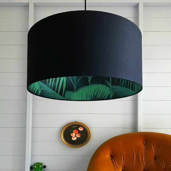 Cole & Sons Palm jungle and Black silhouette Lampshade