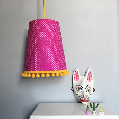 Cone lampshades with a pom pom trim pom pom lampshade in hot pink pin dots aloadofball Gallery